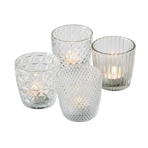 4tlg. Windlicht MARILU klar transparent Muster geriffelt aus Glas (4 Motive)