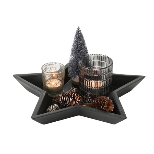 Windlicht-Set NETKA schwarz natur sternförmiges Tablett mit Windlichtern u. Deko