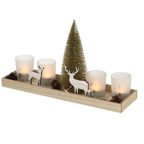 Windlicht VEJLE natur gold Holztablett mit Teelichtgläsern und Deko Hirsch 12tlg