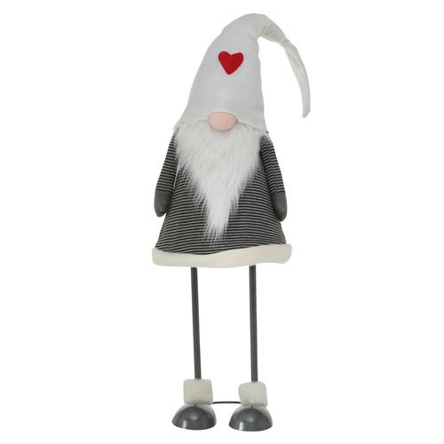 XXL-Wichtel BRADY grau weiß aus Metall und Stoff Weihnachtswichtel - Mütze WEISS