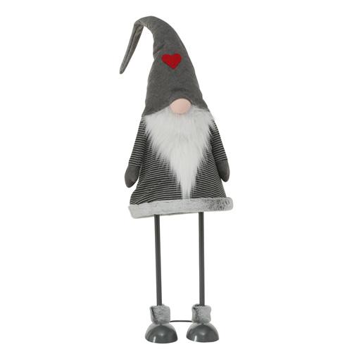 XXL-Wichtel BRADY grau weiß aus Metall und Stoff Weihnachtswichtel - Mütze GRAU