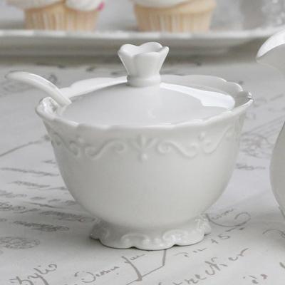 Zuckertopf PROVENCE mit Löffel weiß Geschirr im Landhausstil